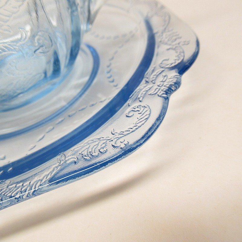 フェデラルグラス インディアナグラス マドリッド マドンナブルー カップ & ソーサー C【画像3】