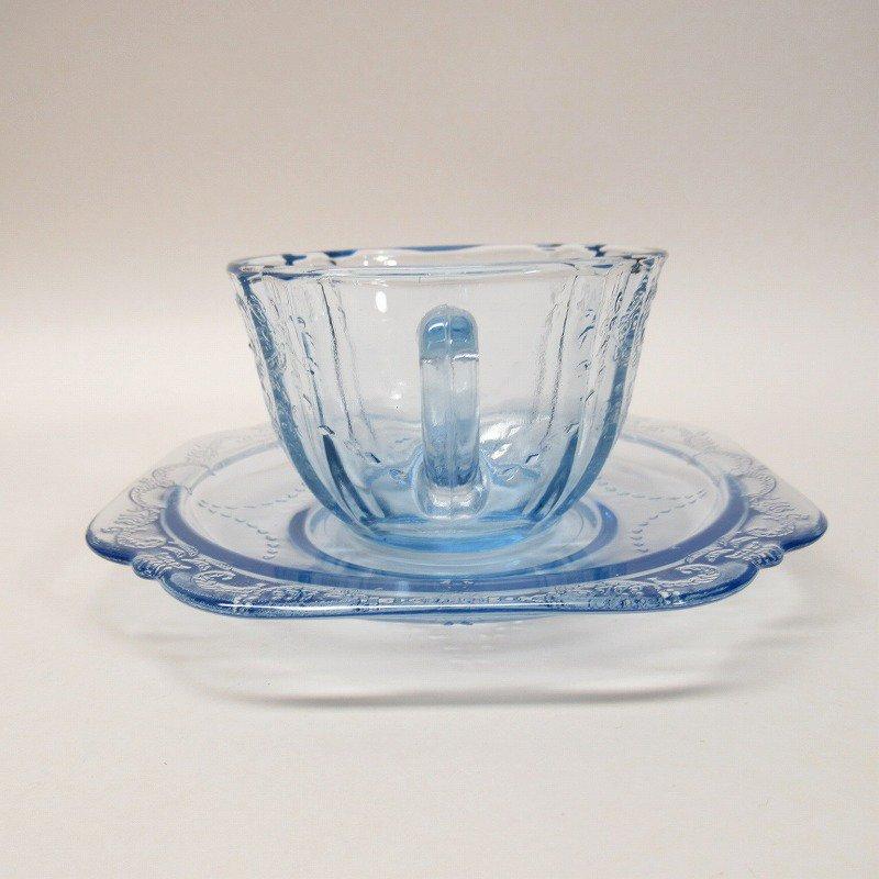 フェデラルグラス インディアナグラス マドリッド マドンナブルー カップ & ソーサー C【画像4】