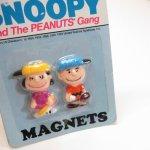 マグネット  スヌーピー ルーシー&チャーリーブラウン プラスチック製 マグネット 2個セット デッドストック