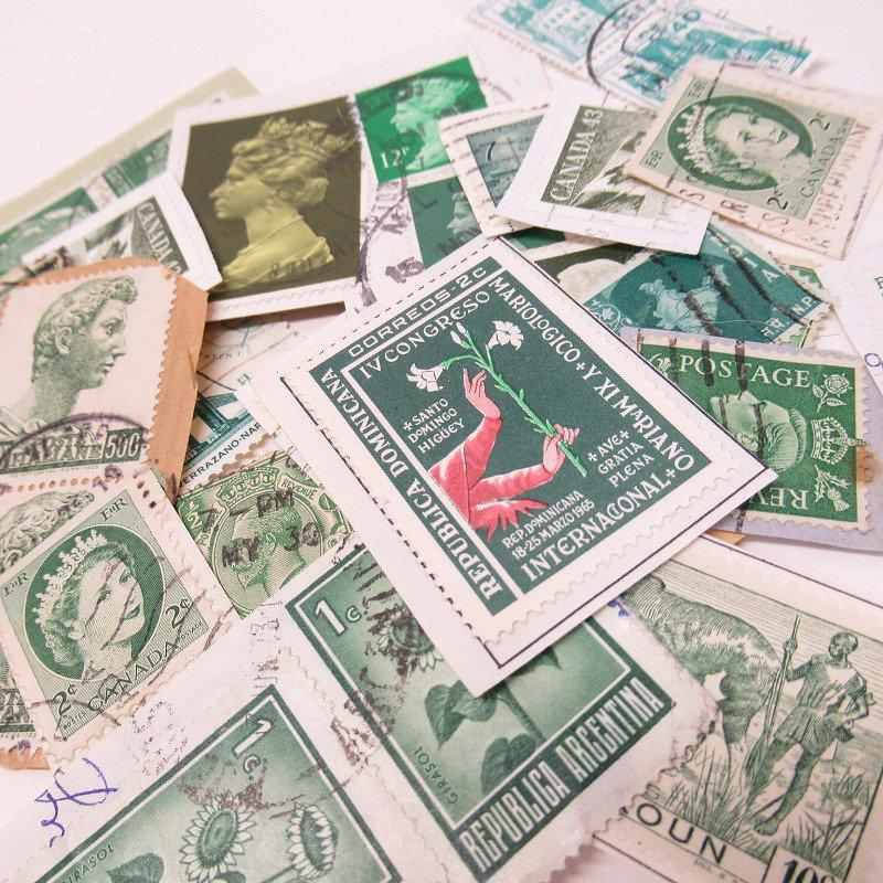 紙モノ雑貨 ヴィンテージ 外国切手  30枚アソート 緑