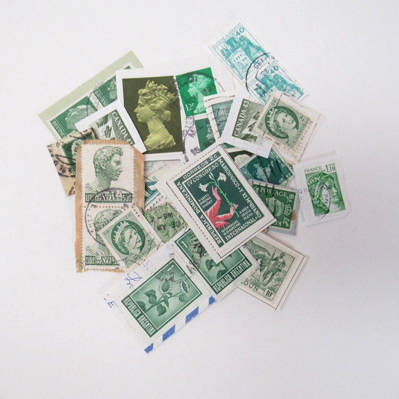 紙モノ雑貨 ヴィンテージ 外国切手  30枚アソート 緑【画像2】