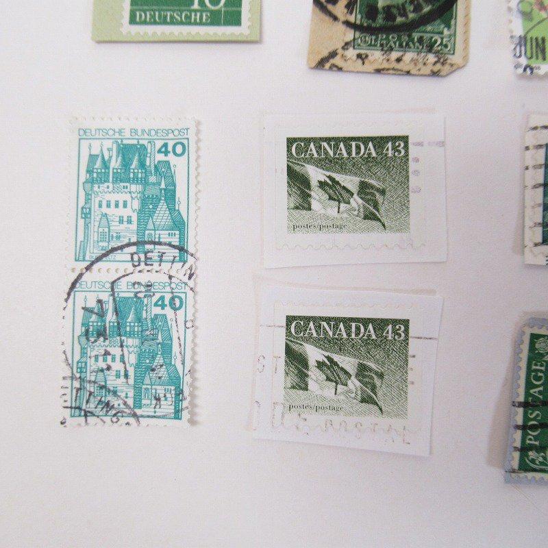紙モノ雑貨 ヴィンテージ 外国切手  30枚アソート 緑【画像11】