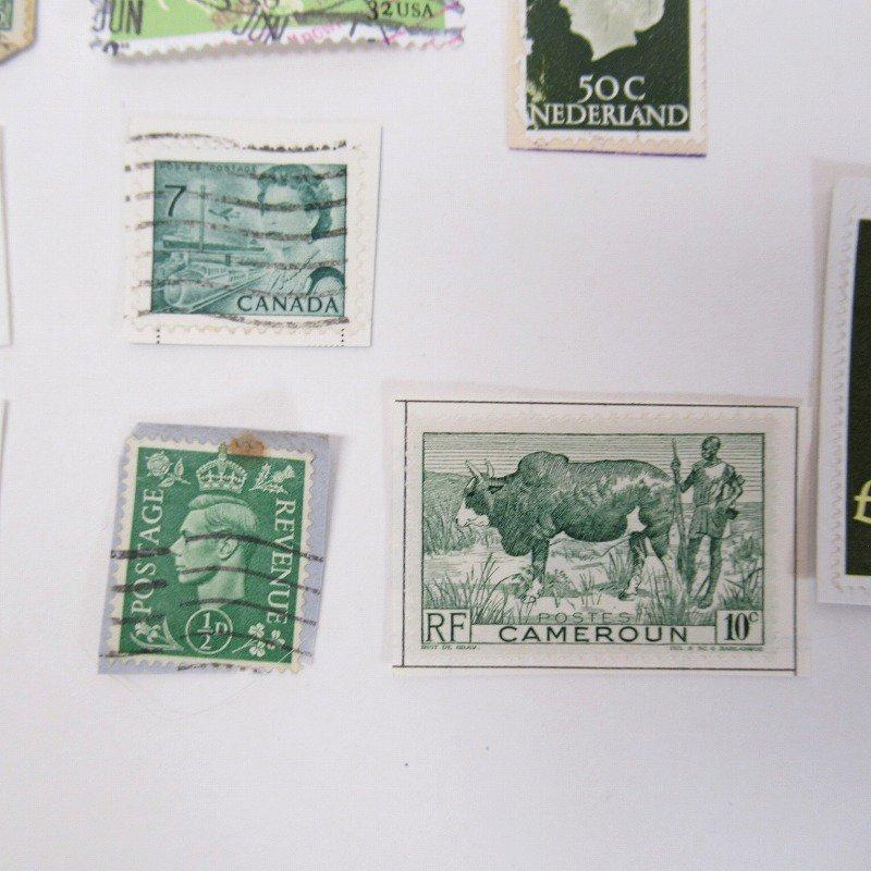 紙モノ雑貨 ヴィンテージ 外国切手  30枚アソート 緑【画像12】