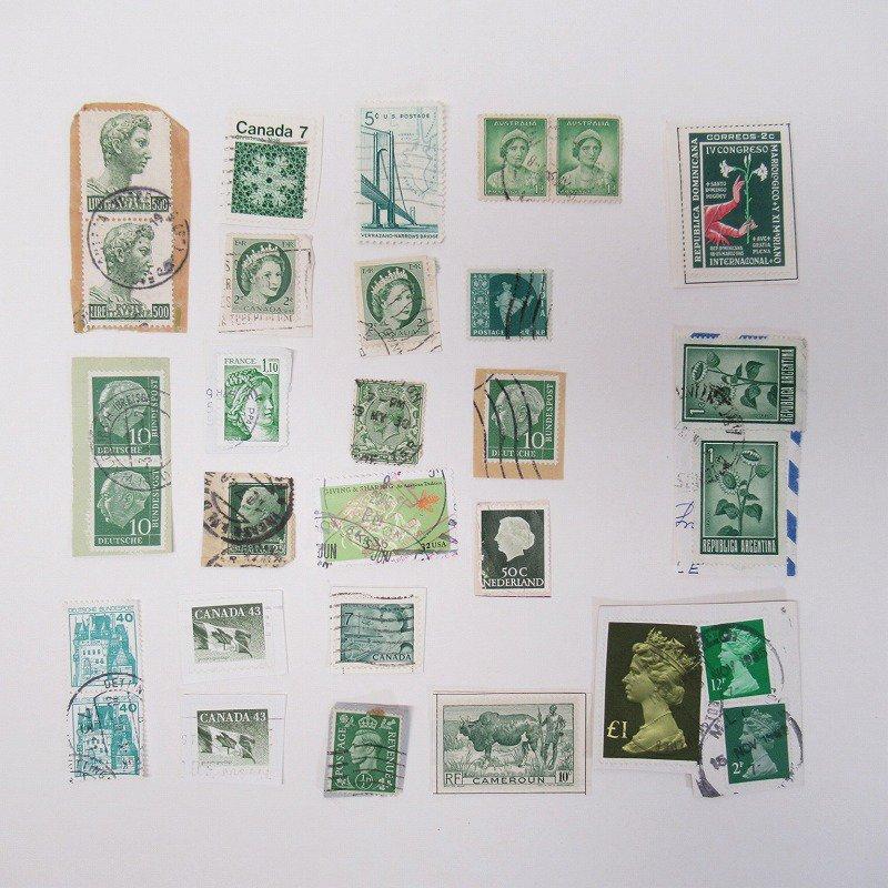 紙モノ雑貨 ヴィンテージ 外国切手  30枚アソート 緑【画像3】