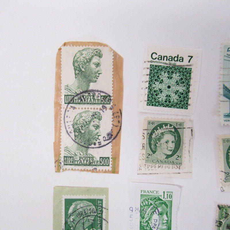 紙モノ雑貨 ヴィンテージ 外国切手  30枚アソート 緑【画像5】