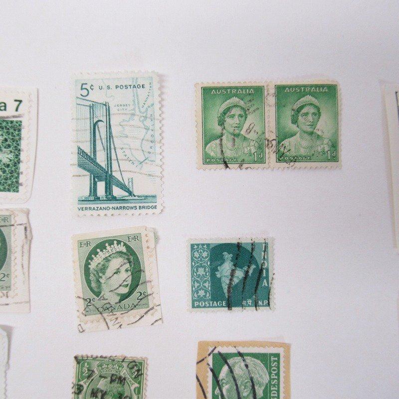 紙モノ雑貨 ヴィンテージ 外国切手  30枚アソート 緑【画像6】