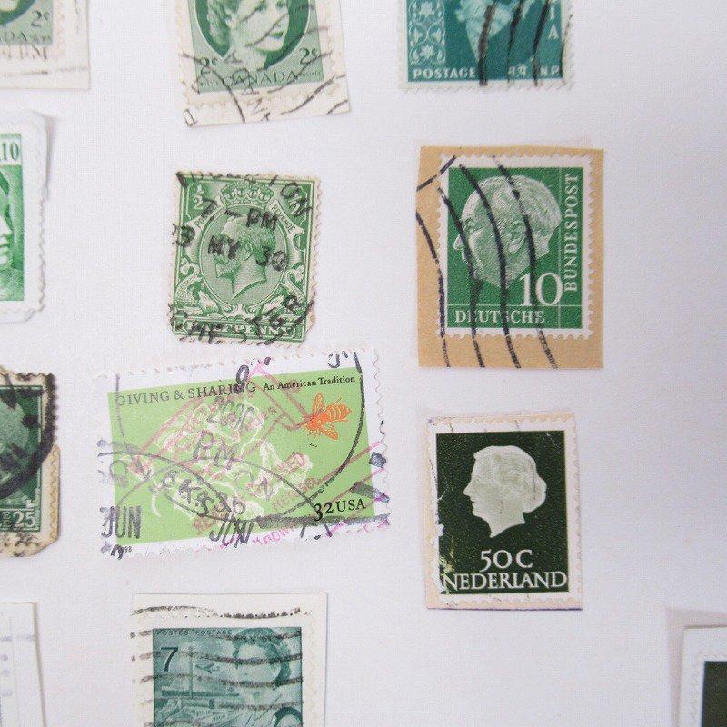 紙モノ雑貨 ヴィンテージ 外国切手  30枚アソート 緑【画像9】