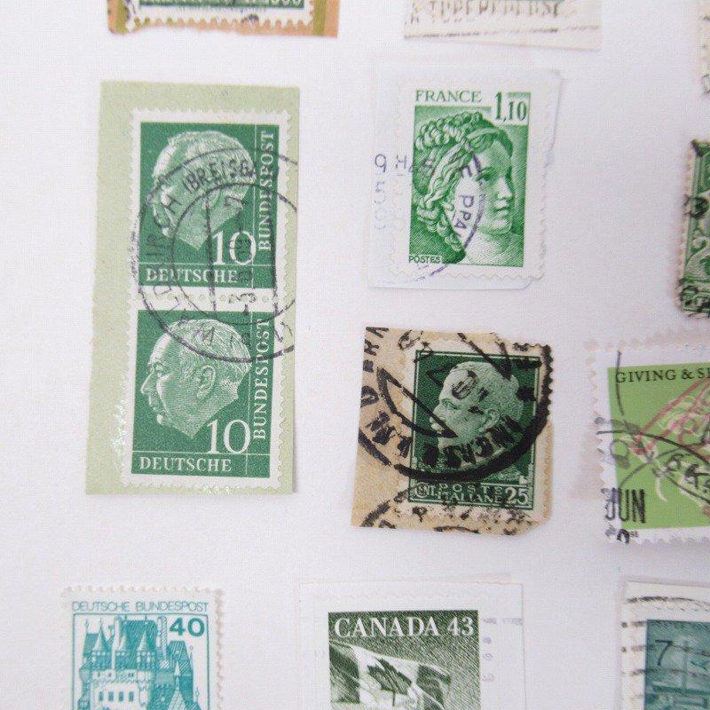 紙モノ雑貨 ヴィンテージ 外国切手  30枚アソート 緑【画像10】