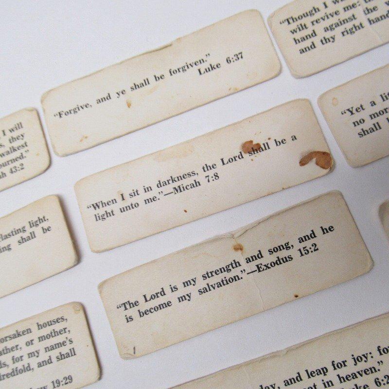 紙モノ 1940~60年代 聖書の言葉 タグ20枚セット A【画像3】