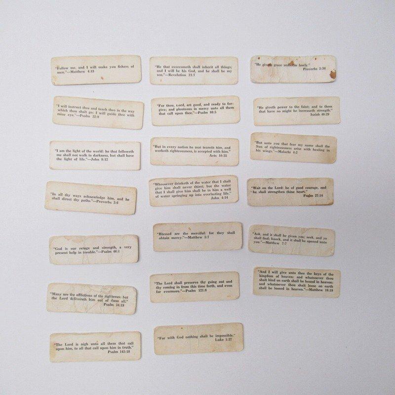 紙モノ 1940~60年代 聖書の言葉 タグ20枚セット C【画像3】
