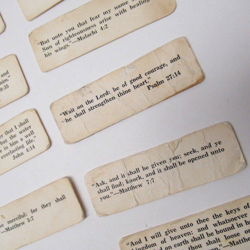紙モノ 1940~60年代 聖書の言葉 タグ20枚セット C【画像5】