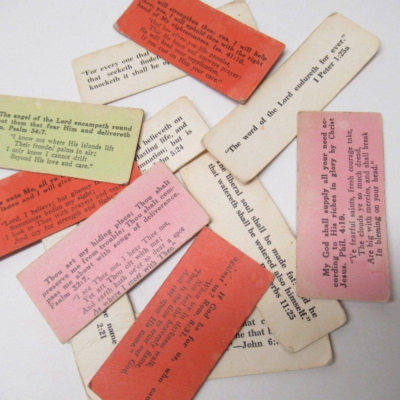 紙モノ 1940~60年代 聖書の言葉 カラータグ入り12枚セット C