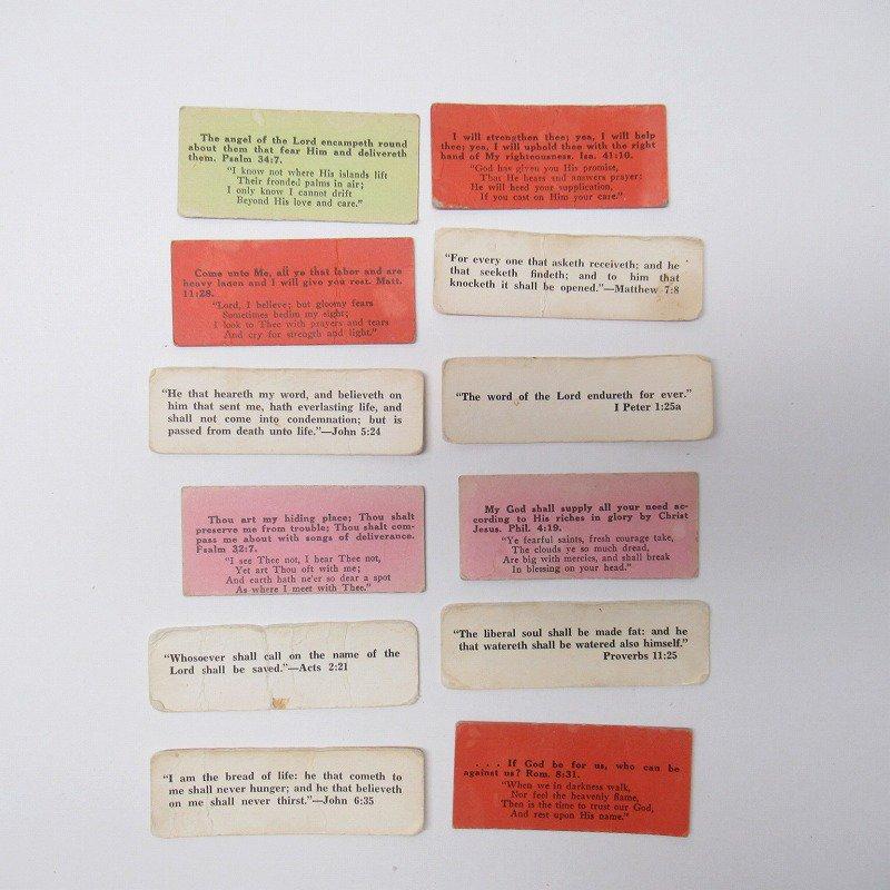 紙モノ 1940~60年代 聖書の言葉 カラータグ入り12枚セット C【画像2】