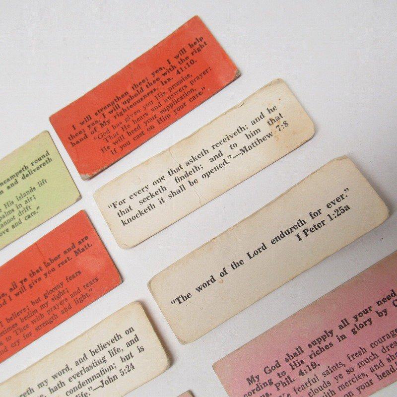 紙モノ 1940~60年代 聖書の言葉 カラータグ入り12枚セット C【画像3】