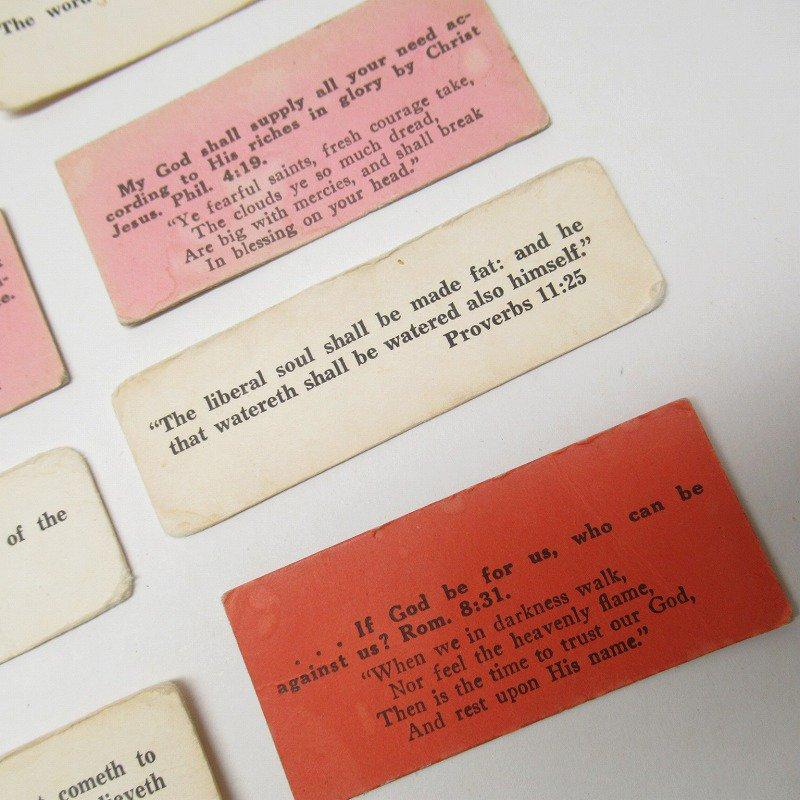 紙モノ 1940~60年代 聖書の言葉 カラータグ入り12枚セット C【画像4】