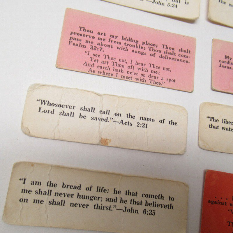 紙モノ 1940~60年代 聖書の言葉 カラータグ入り12枚セット C【画像5】