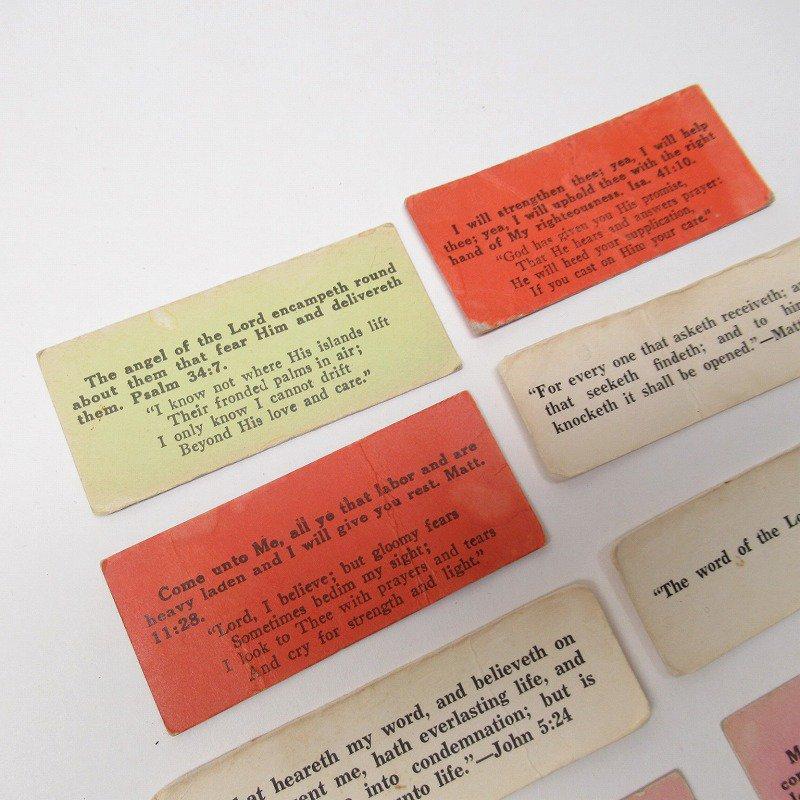紙モノ 1940~60年代 聖書の言葉 カラータグ入り12枚セット C【画像6】