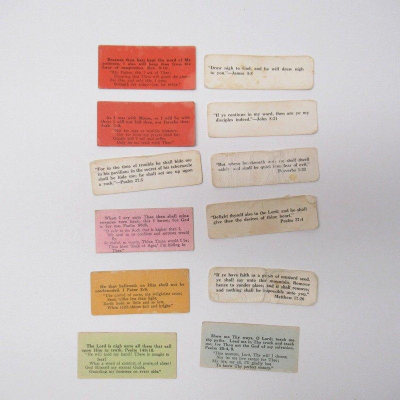 紙モノ 1940~60年代 聖書の言葉 カラータグ入り12枚セット D【画像2】