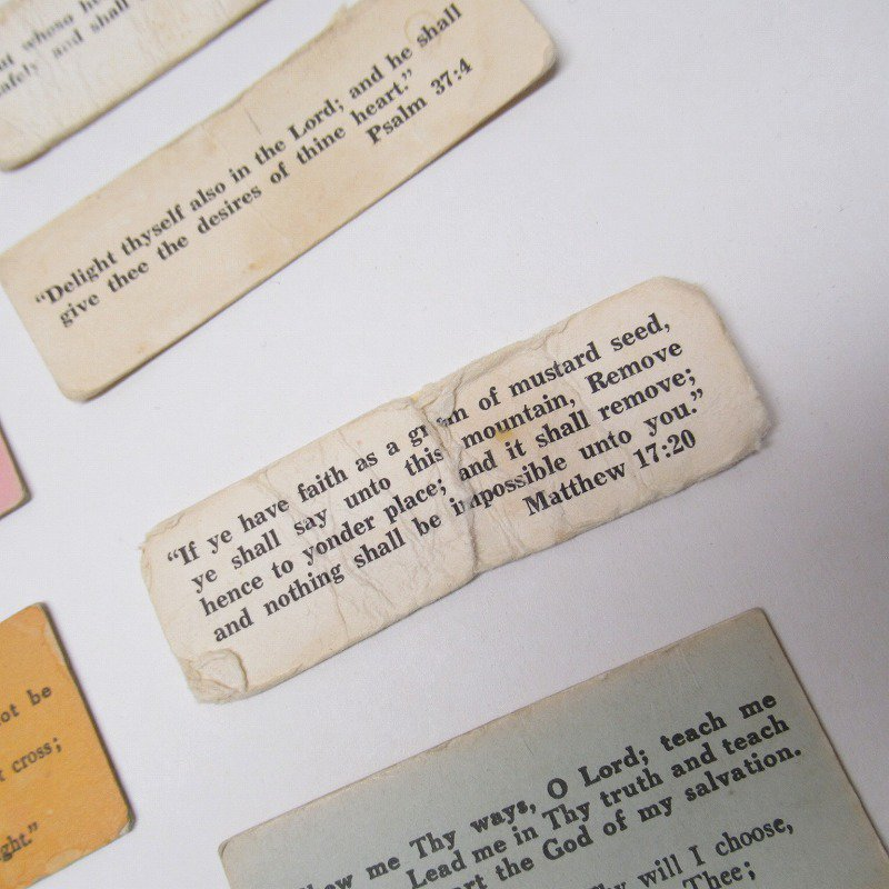 紙モノ 1940~60年代 聖書の言葉 カラータグ入り12枚セット D【画像3】