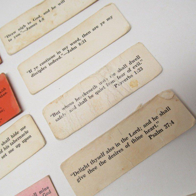 紙モノ 1940~60年代 聖書の言葉 カラータグ入り12枚セット D【画像4】