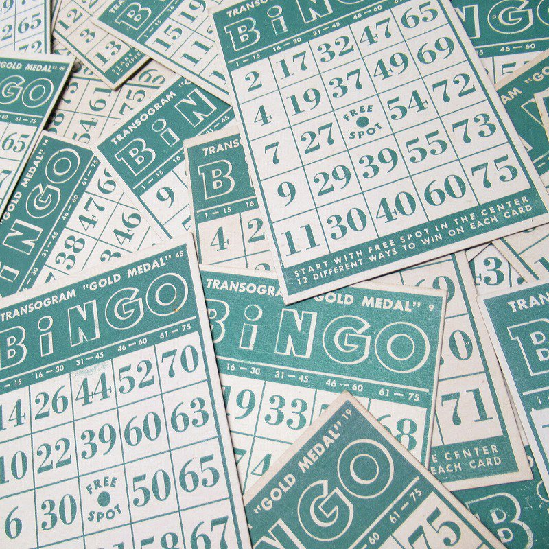 紙モノ 1950~60年代 ビンゴシート緑セット