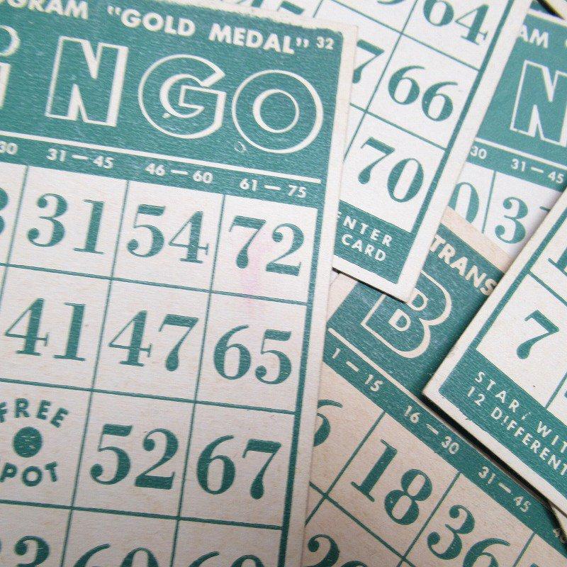 紙モノ 1950~60年代 ビンゴシート緑セット【画像4】