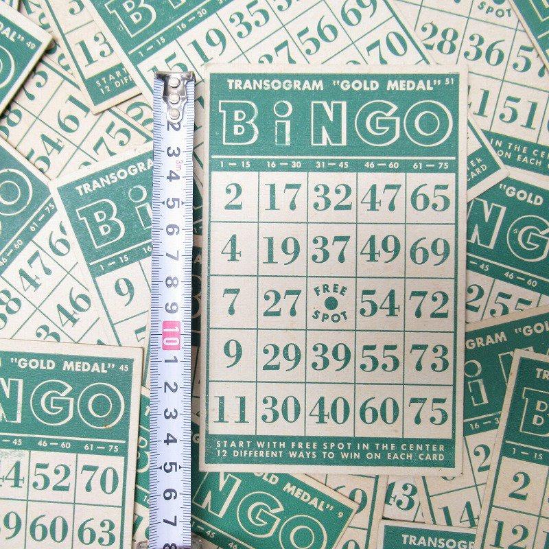 紙モノ 1950~60年代 ビンゴシート緑セット【画像6】