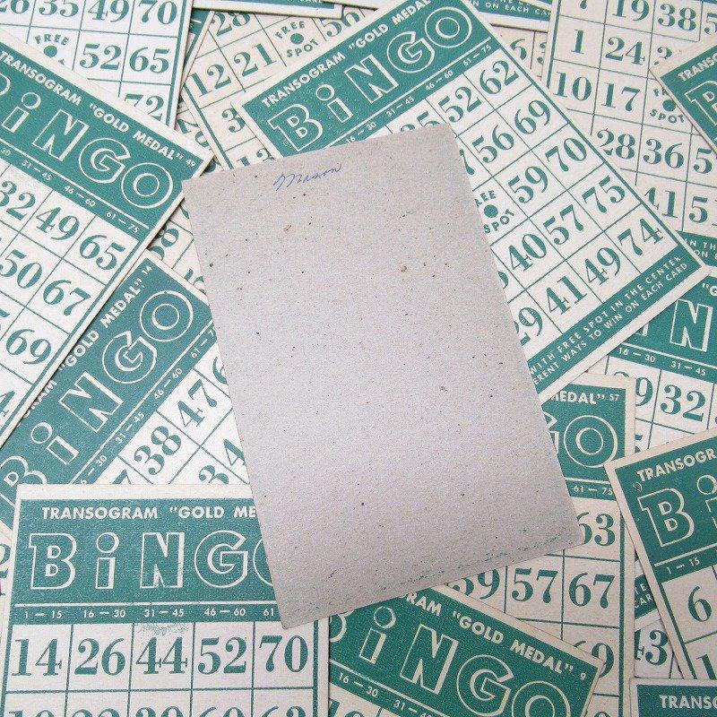 紙モノ 1950~60年代 ビンゴシート緑セット【画像7】