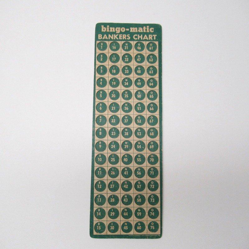 紙モノ 1950~60年代 ビンゴシート バンカーズチャート【画像3】