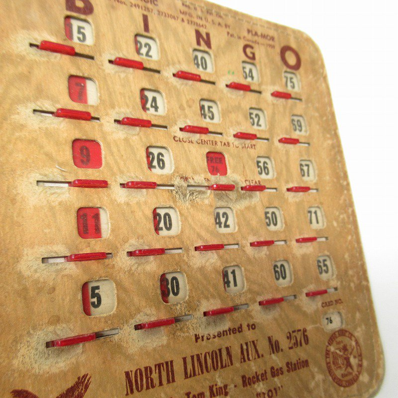 紙モノ 1950~60年代  F.O.E. ビンゴシート ボード番号76【画像10】
