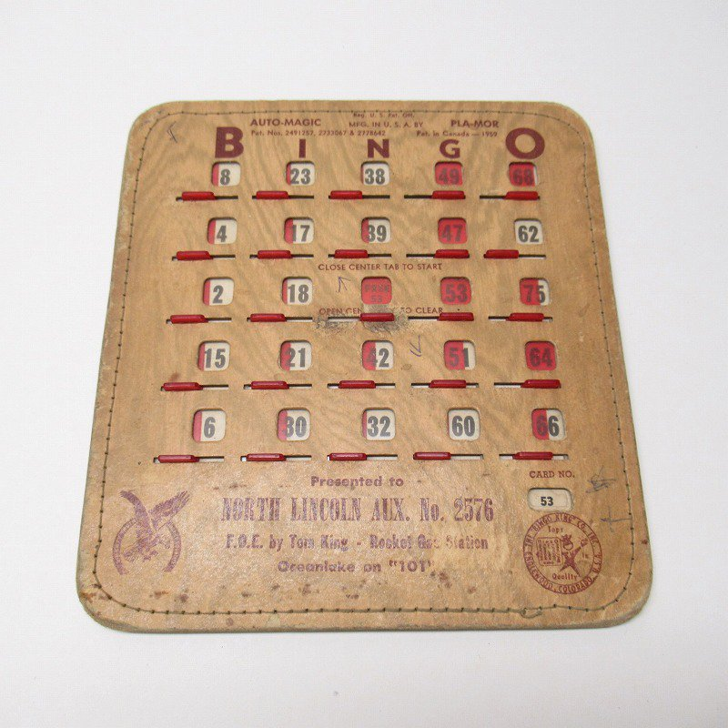 紙モノ 1950~60年代  F.O.E. ビンゴシート ボード番号53
