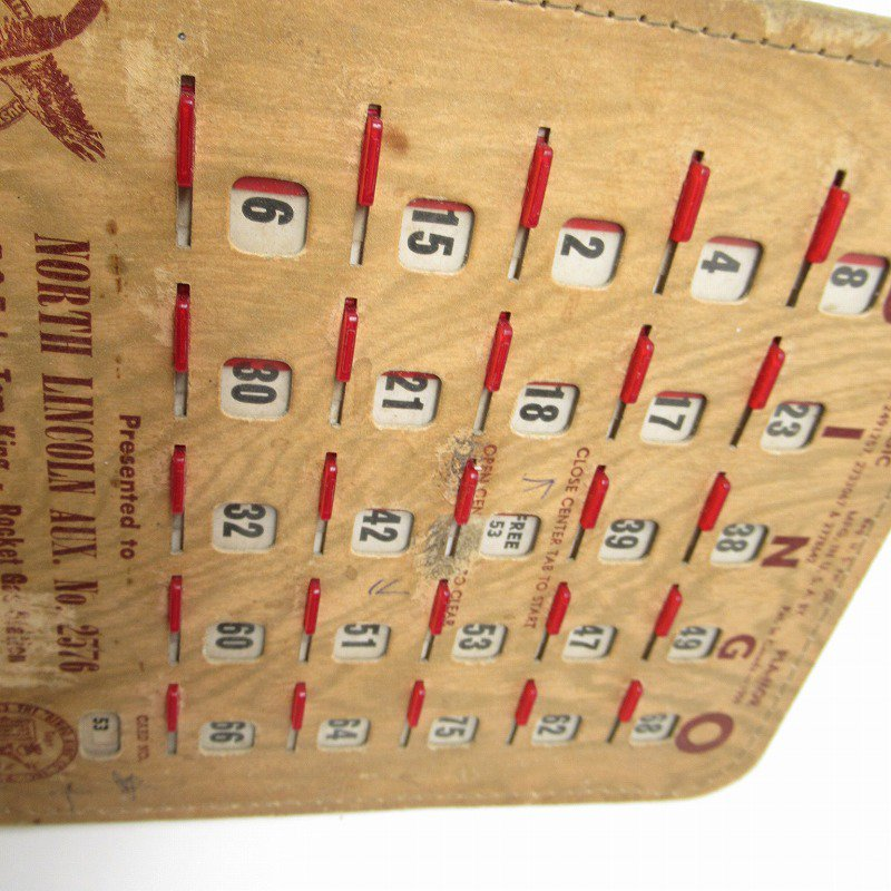 紙モノ 1950~60年代  F.O.E. ビンゴシート ボード番号53【画像8】