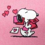 キャラクター  スヌーピーはぎれ 2サイズ有 バレンタイン ピンクベースハート