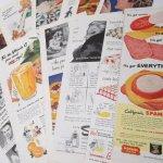 ヴィンテージ広告マガジン切抜き  紙モノ ヴィンテージマガジン 広告切り抜き 1/3サイズ 12枚セット A