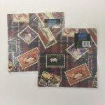 その他  ヴィンテージラッピングペーパー 切手モチーフ2枚入りセット 未使用未開封
