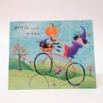 ハロウィン&サンクスギビング  ハロウィン ホールマーク ヴィンテージカード We're far apart 黒猫と魔女 未使用