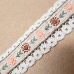 シームテープ&トリム  アメリカンヴィンテージ ソーイングトリム ピンクと茶色のお花