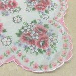 ファッション  ヴィンテージハンカチ ピンクと白のお花