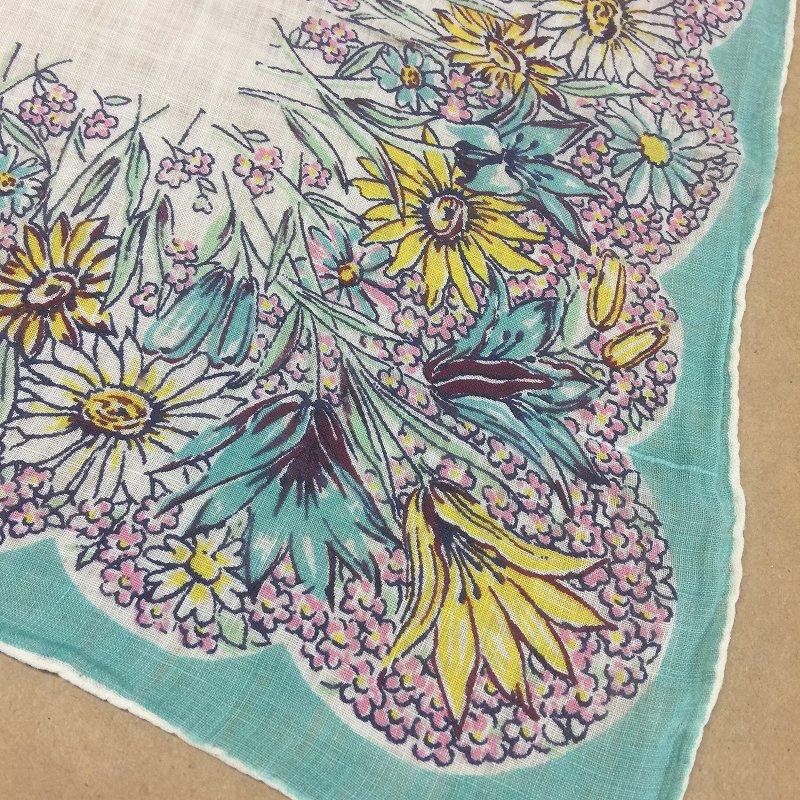 ヴィンテージハンカチ ターコイズブルーと黄色のお花