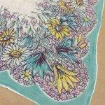 ファッション  ヴィンテージハンカチ ターコイズブルーと黄色のお花