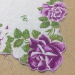 ファッション  ヴィンテージハンカチ 紫のバラ