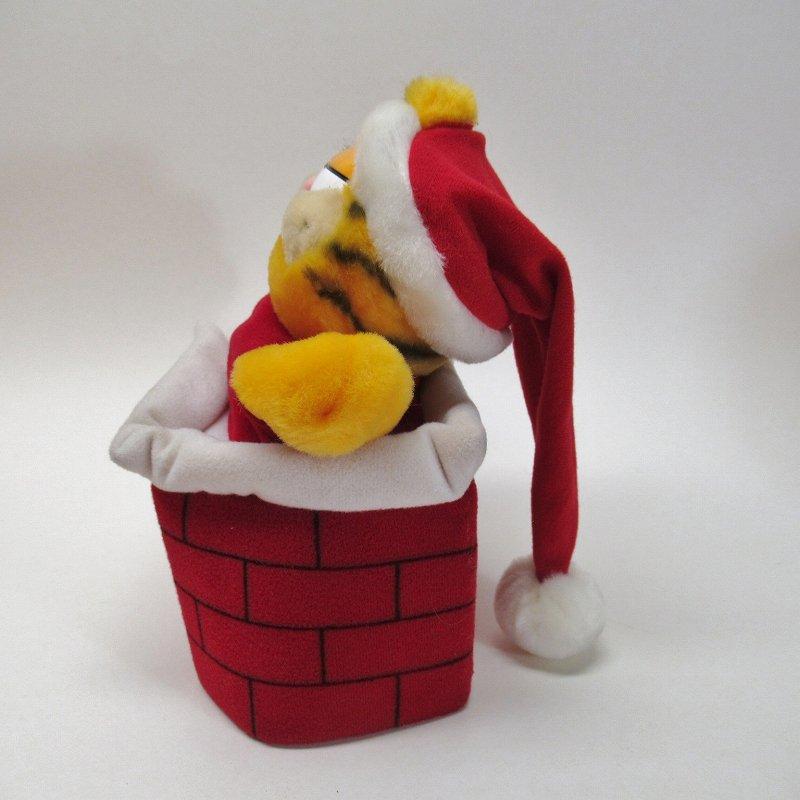 ガーフィールド DAKIN社 1980年代 クリスマス サンタと煙突プラッシュ パペット【画像4】