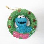ツリーにつけるオーナメント  セサミストリート クッキーモンスター陶器製 クリスマスオーナメント