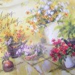 お花モチーフ  ヴィンテージラッピングペーパー お花とお誕生日