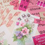 チケット、スコアパッドなどの紙物・紙モノ雑貨  紙ものセット ピンク