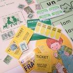 チケット、スコアパッドなどの紙物・紙モノ雑貨  紙ものセット グリーン&イエロー A