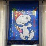 リビング  スヌーピー ナイロンフラッグ Happy New Year!!