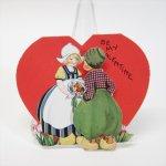 使用済  バレンタイン ヴィンテージカード オランダの女の子と男の子