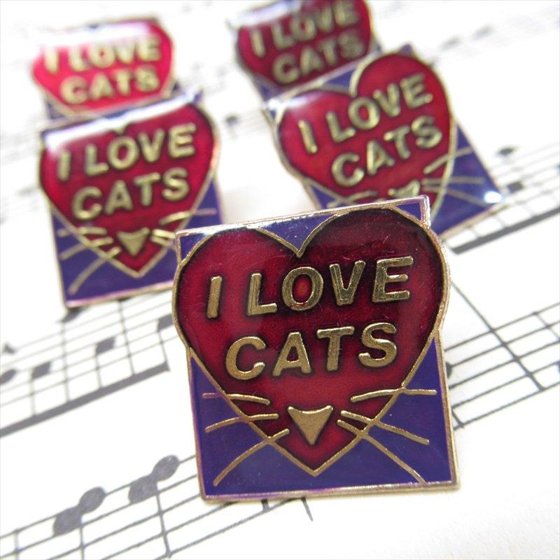 ヴィンテージピンズ I LOVE CAT ハート