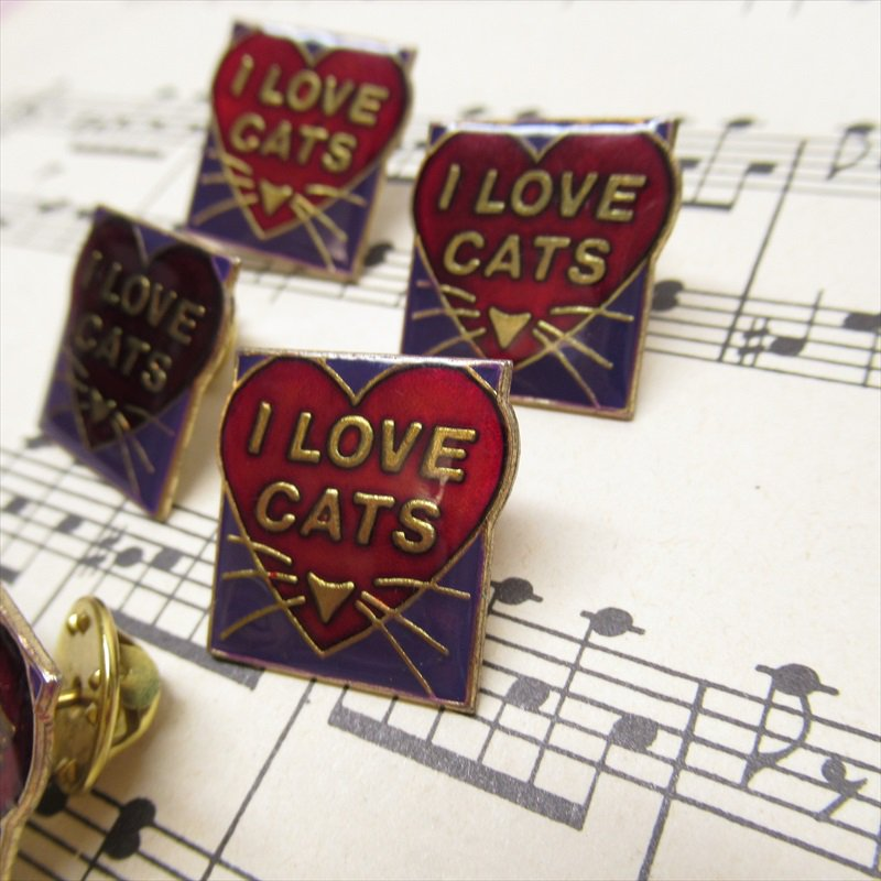 ヴィンテージピンズ I LOVE CAT ハート【画像3】